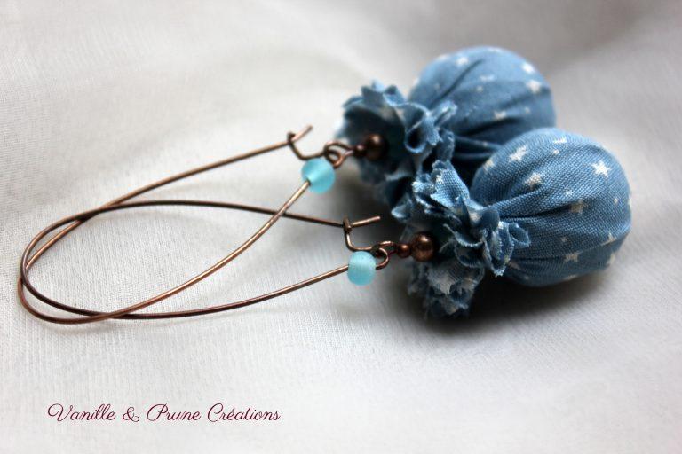 Boucles d'oreilles °° Collection Pluie d'étoiles °° bleu ancien