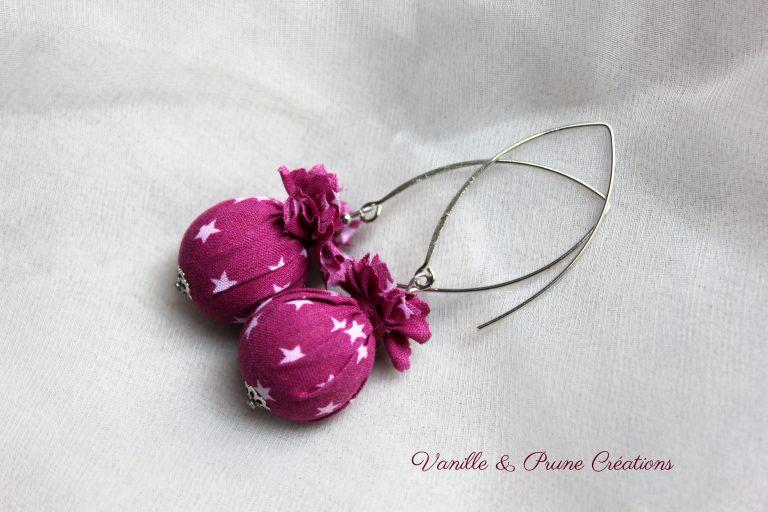 Boucles d'oreilles °° Collection Pluie d'étoiles °° framboise, rose pâle