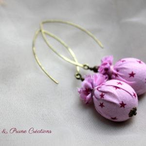 Boucles d'oreilles °° Collection Pluie d'étoiles °° rose pâle, framboise