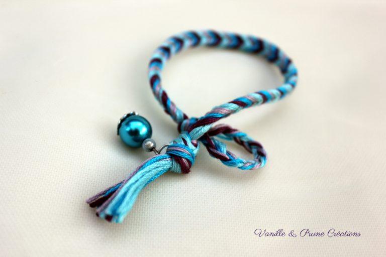 Bracelet été indien épi de blé bleu turquoise et violet, mauve