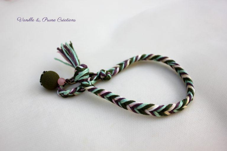 Bracelet été indien épi de blé kaki, violine, rose pâle et vert d'eau
