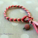 Bracelet été indien épi de blé kaki rose orangé rose pâle