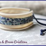 Bracelet enfant en zip écru et biais Liberty® fleur bleu marine