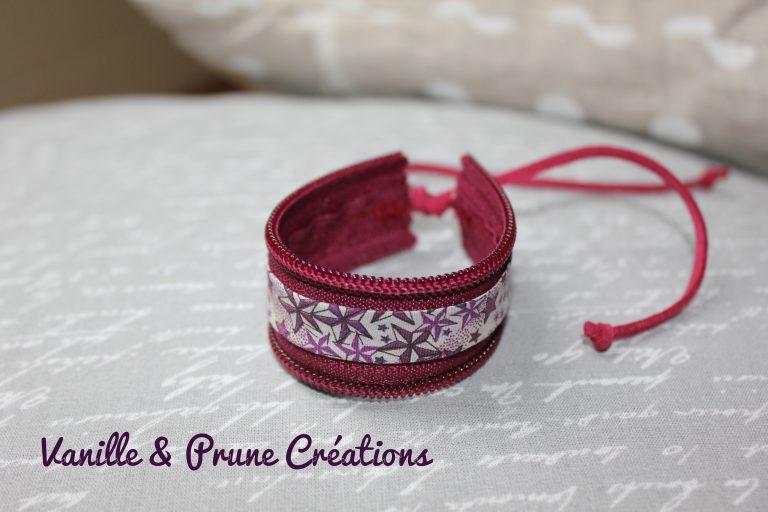 Bracelet enfant en zip bordeaux et biais Liberty® étoilé violet et crème