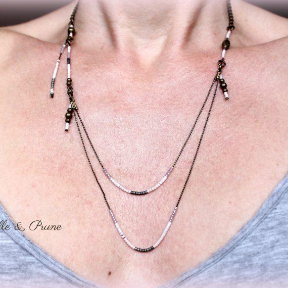 Collier doublé bronze chaine serpent fine et perles miyuki délicate