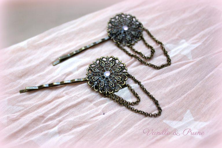 Barrettes retro bronze et chainettes, strass rose opal
