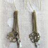 Boucles d'oreilles longues bronze roses filigranes, miyuki tons blancs irisées et vert d'eau