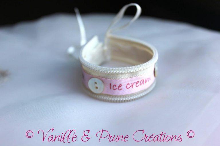 Bracelet enfant tissu zippé coton écru
