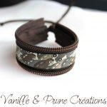 Bracelet enfant en zip chocolat et Liberty® cars