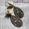 Boucles d'oreilles °°mini bonbons°° de tissu estampes filigranes bronze