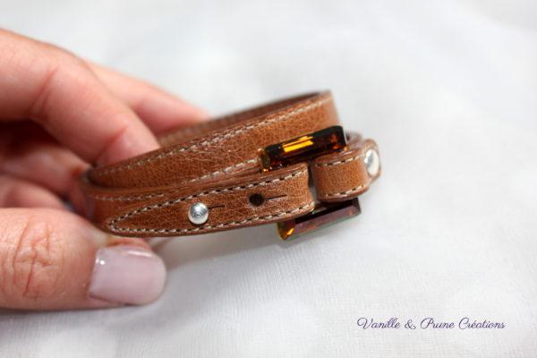 Bracelet cuir 2 tours marron vieilli carré cristal golden shadow, sur commande