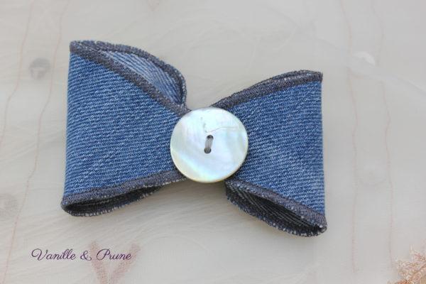 Bracelet en Jean en forme de noeud et biais de Liberty Capel turquoise