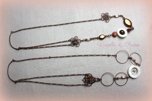 Bijou de tête Headband cuivré, perles, estampe et intercalaires ronds