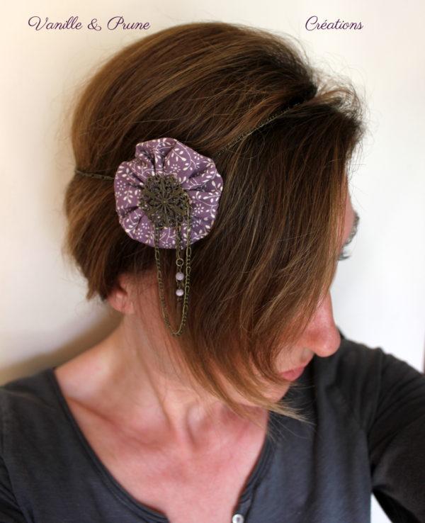 Bijou de tête Headband métal bronze yoyo tissu parme imprimé fleurs