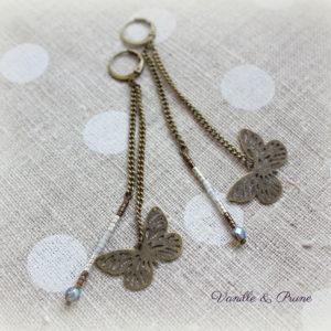 Boucles d'oreilles longues bronze papillon filigranes, miyuki blanches irisées