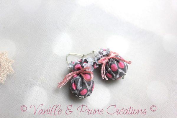 Boucles d'oreilles enfant textile français rose et gris