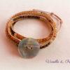 Bracelet Wrap 4 tours perles bohèmes ambiance d'été crème chocolat caramel