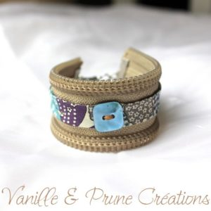 Bracelet zippé lin, biais liberty gris, prune et bleu