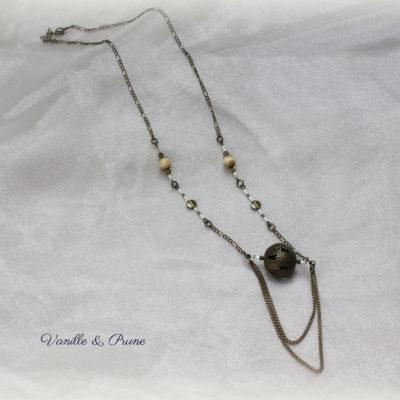 sautoir bronze grosse perle ajourée miyuki blanches creme kaki3