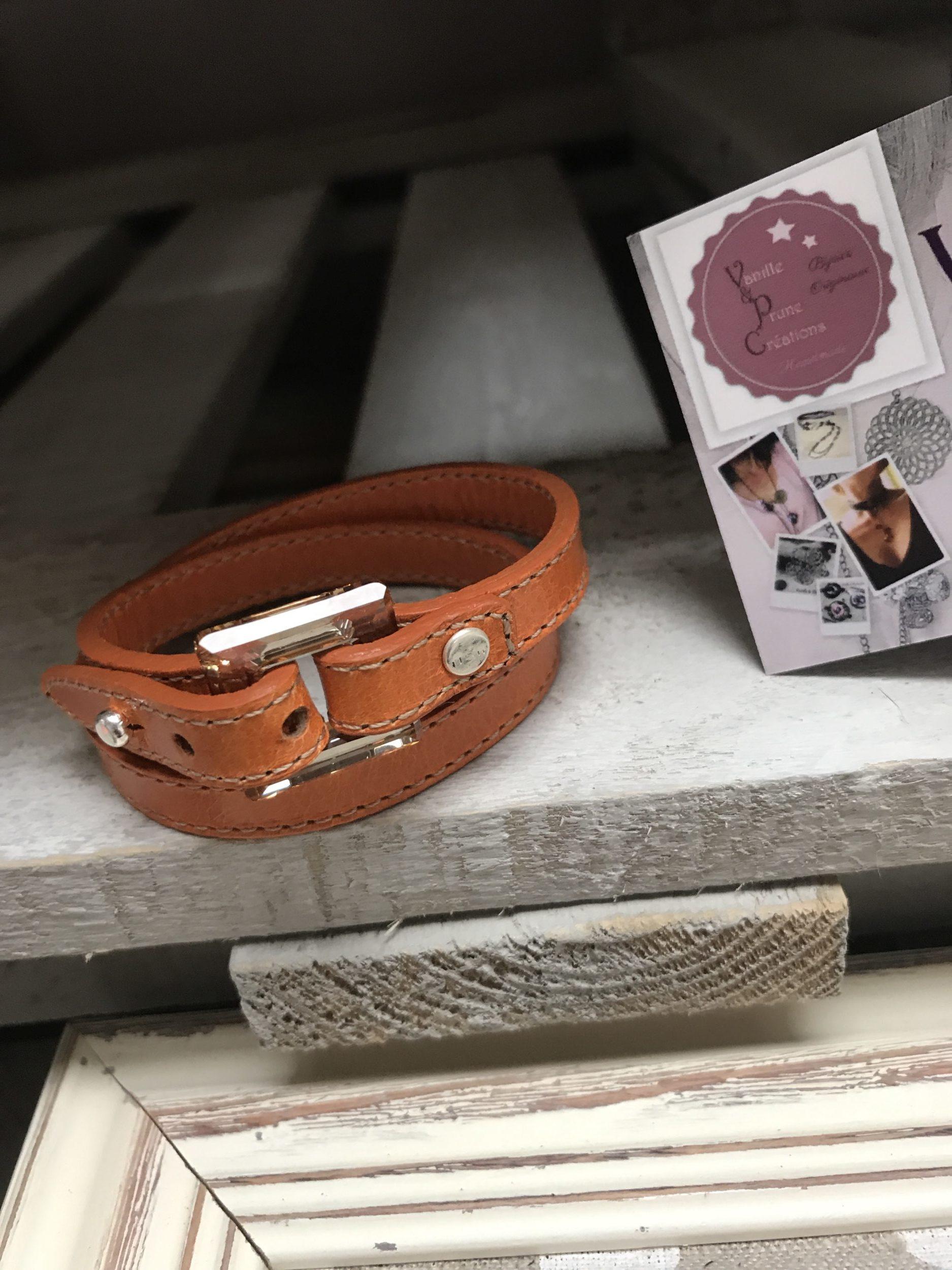 Bracelet cuir 2 tours orange carré cristal golden  °Commande personnalisée°