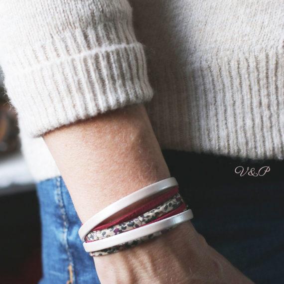 Bracelet multi-rangs cuir, Liberty® eloise prune et daim, breloque étoile
