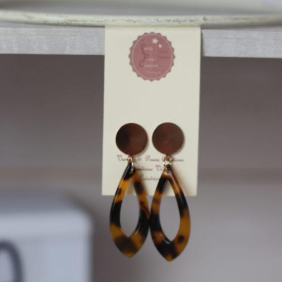 Boucles d'oreilles rose Gold et petit pendentif écailles de tortue