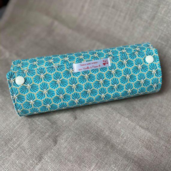 Essuie tout lavable tissu absorbant nid d'abeilles bio et imprimé Riad Turquoise