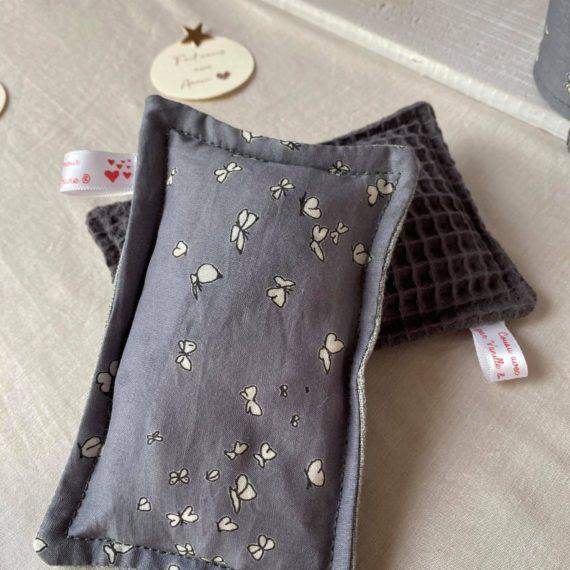 Lot de 2 éponges lavables en tissu nid d'abeilles bio, lin et imprimé batiste gris orage