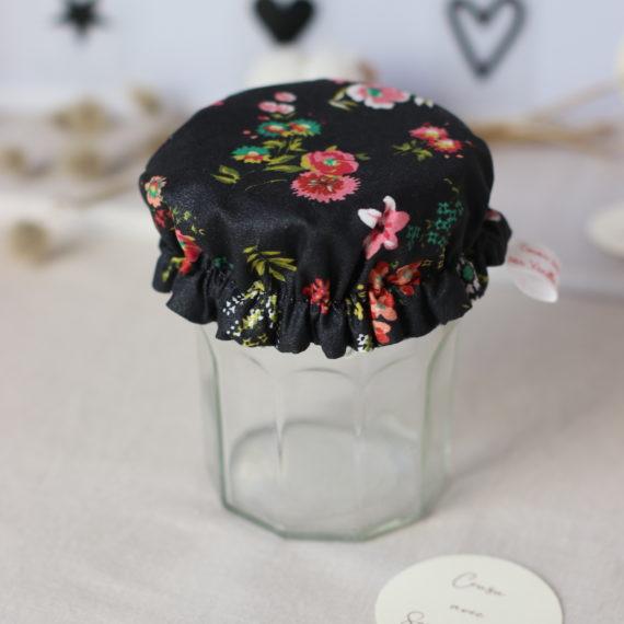 3 Petites charlottes couvre-bocaux en tissu de coton enduit imprimé