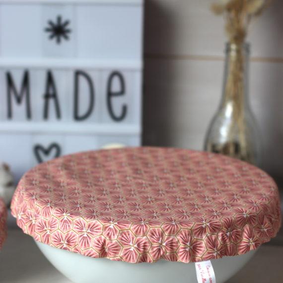Charlottes couvre-plats tissu Oeko tex, coton enduit imprimé géométrique rose